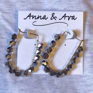 Anna & Ava Hoops with Hematite Bicone Crystals NWT